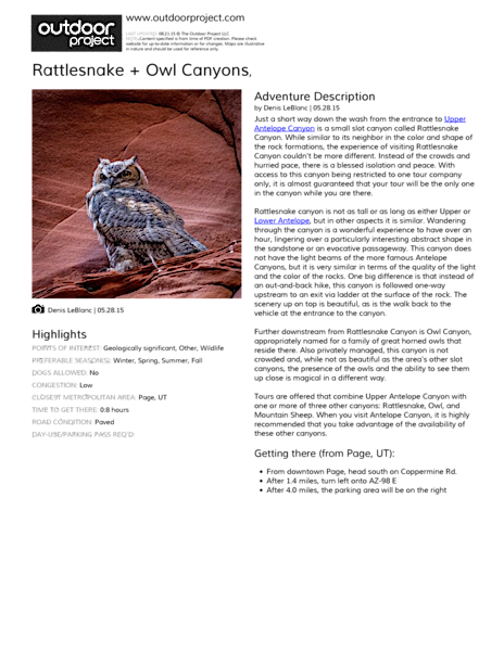 Rattlesnake + Owl Canyons Field Guide