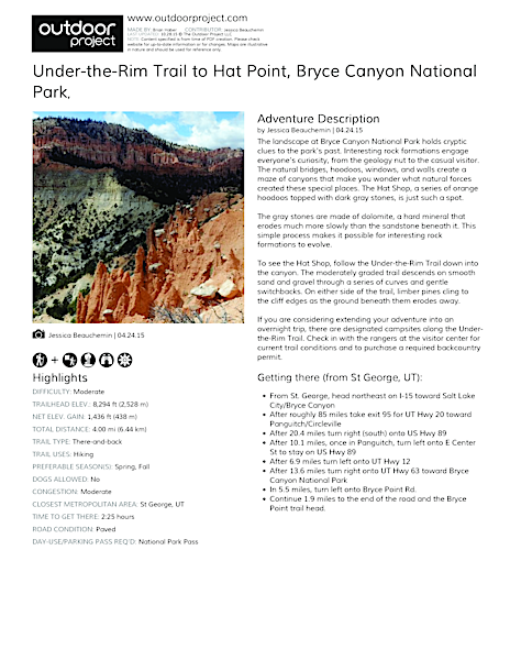 Under-the-Rim Trail to Hat Point Field Guide