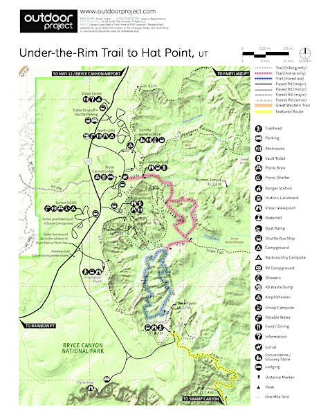Under-the-Rim Trail to Hat Point Trail Map