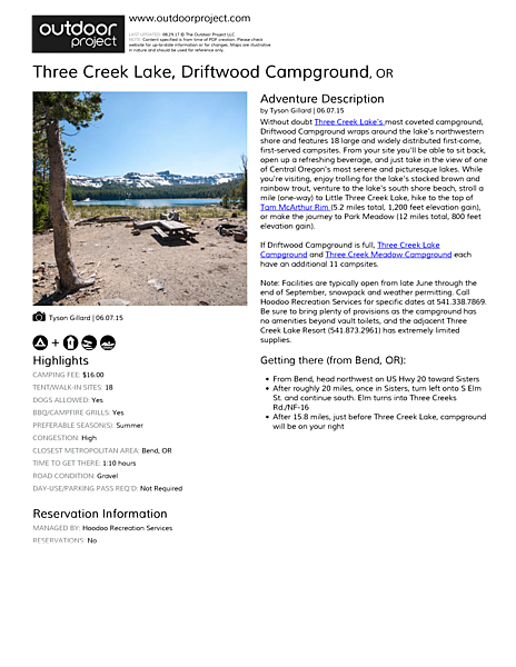 Three Creek Lake, Driftwood Campground Field Guide