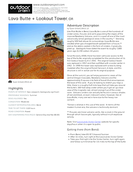 Lava Butte + Lookout Tower Field Guide