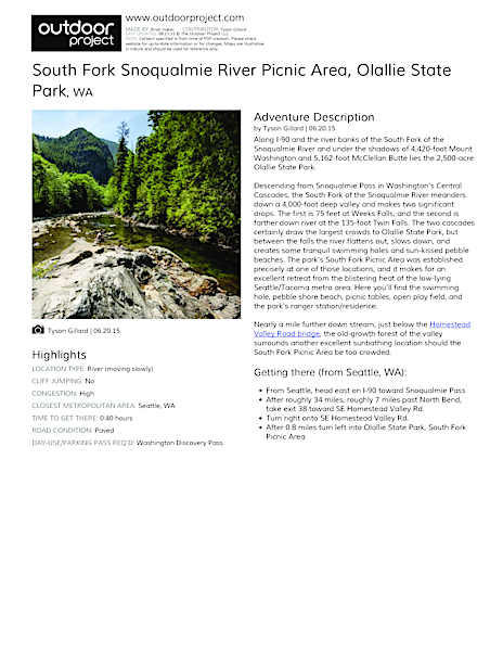 South Fork Snoqualmie River Picnic Area Field Guide