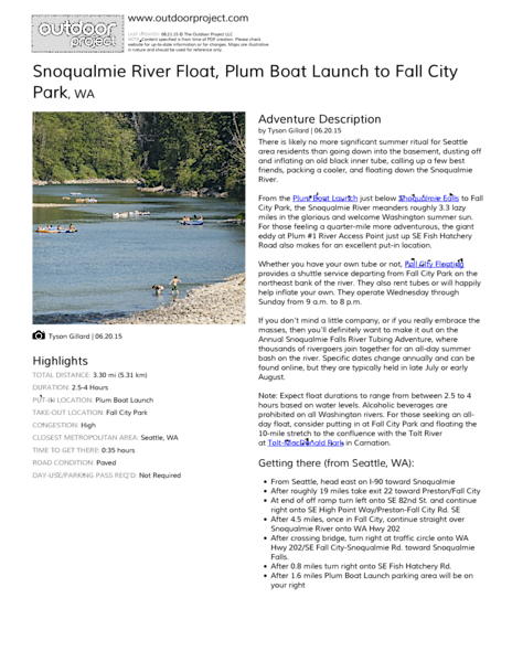 Snoqualmie River Float Field Guide