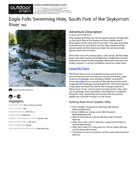 Eagle Falls Swimming Hole Field Guide