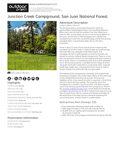 Junction Creek Campground Field Guide