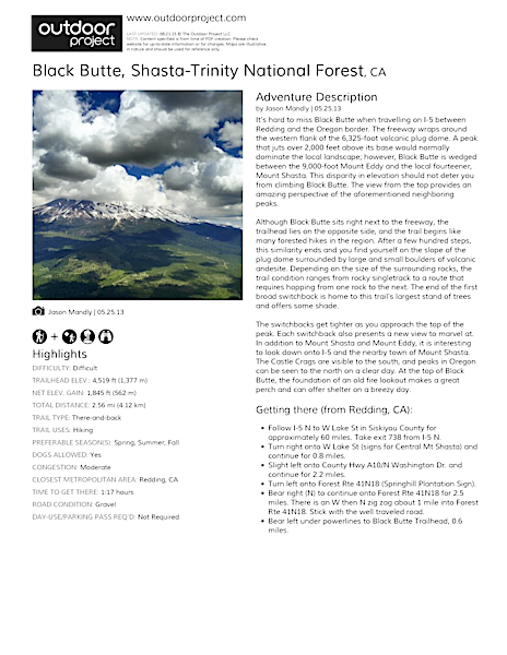 Black Butte Field Guide