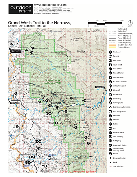 Grand Wash Trail to The Narrows Trail Map