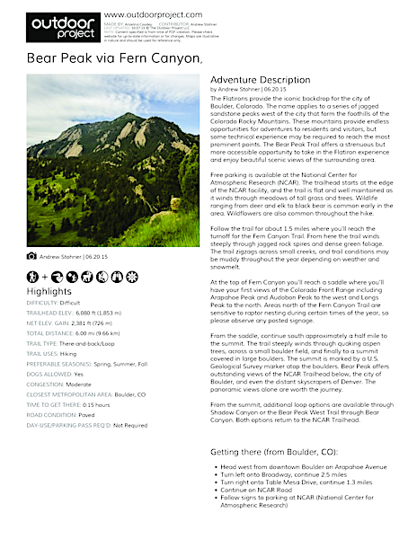 Bear Peak via Fern Canyon Field Guide