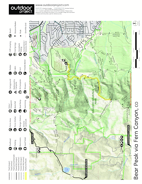 Bear Peak via Fern Canyon Trail Map