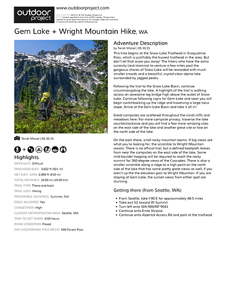 Gem Lake + Wright Mountain Hike Field Guide