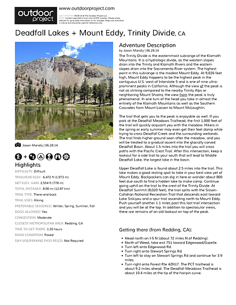 Deadfall Lakes + Mount Eddy Field Guide