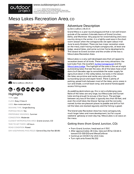 Mesa Lakes Recreation Area Field Guide