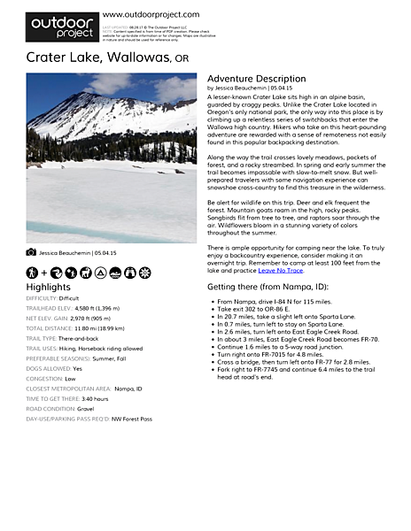 Crater Lake, Wallowas Field Guide