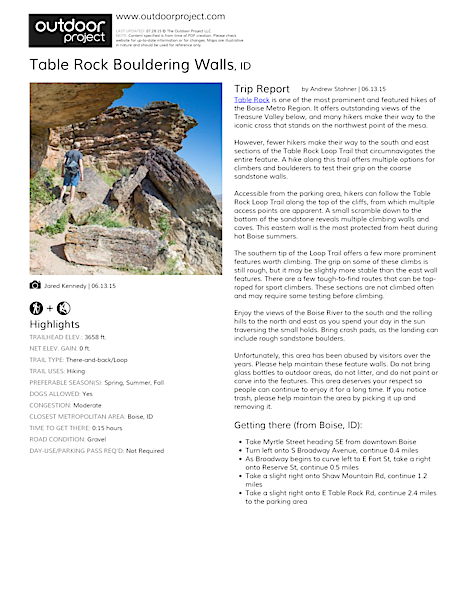 Table Rock Bouldering Walls Field Guide