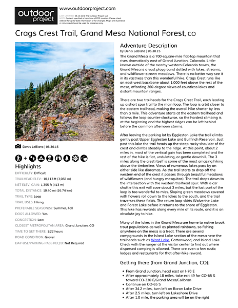 Crags Crest Trail Field Guide