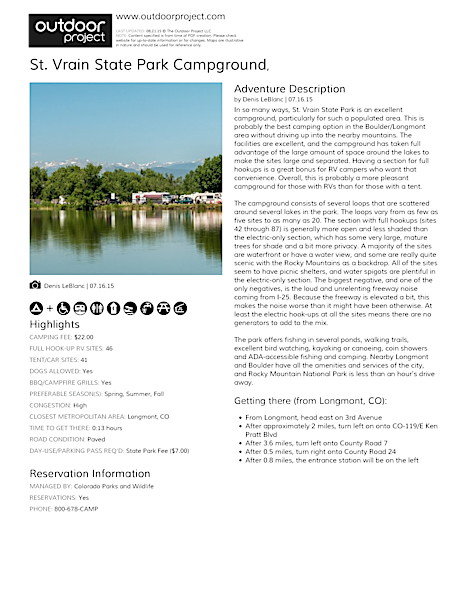St. Vrain State Park Campground Field Guide
