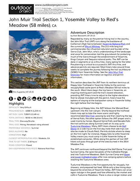 John Muir Trail Section 1 Field Guide