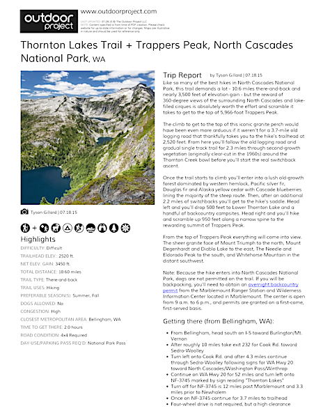 Thornton Lakes Trail + Trappers Peak Field Guide