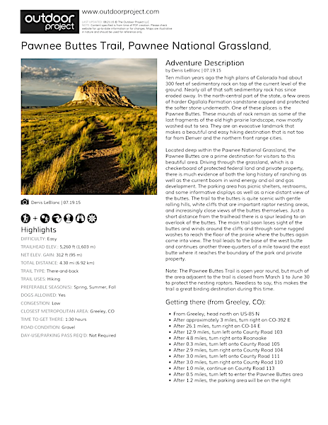 Pawnee Buttes Trail Field Guide