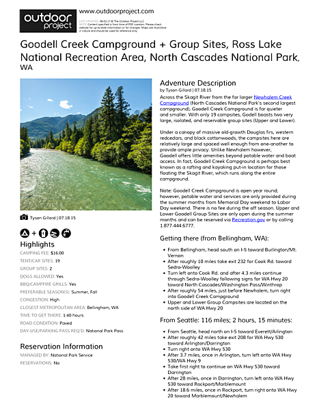 Goodell Creek Campground + Group Sites Field Guide
