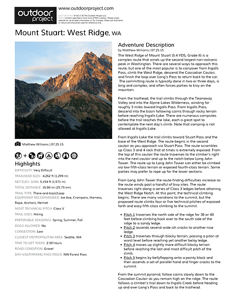 Mount Stuart: West Ridge Field Guide