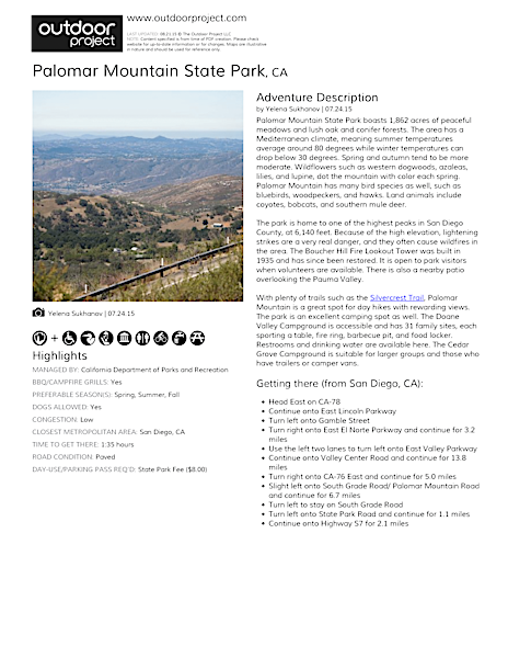 Palomar Mountain State Park Field Guide