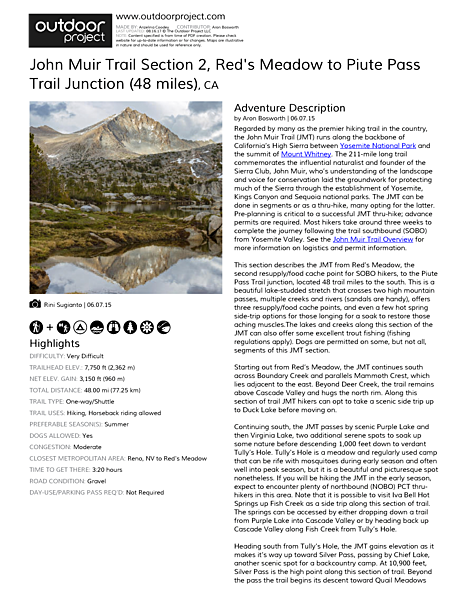 John Muir Trail Section 2 Field Guide