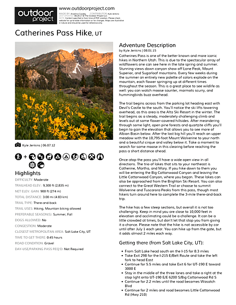 Catherines Pass Hike Field Guide