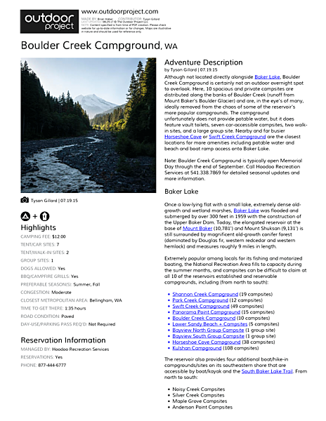 Boulder Creek Campground Field Guide