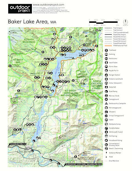 Baker Lake, Lower Sandy Beach + Campsites Campground Map