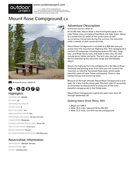 Mount Rose Campground Field Guide