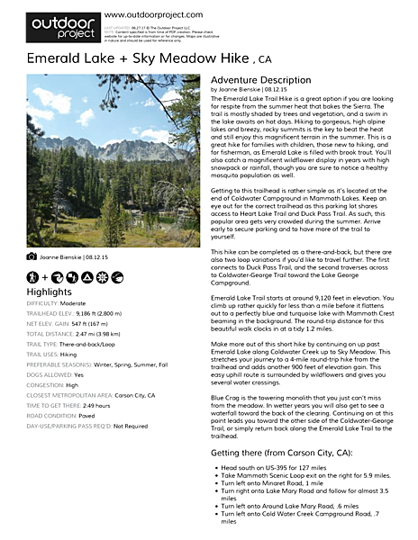Emerald Lake + Sky Meadow Hike  Field Guide