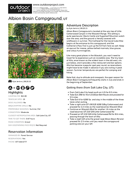 Albion Basin Campground Field Guide