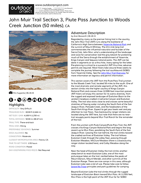 John Muir Trail Section 3 Field Guide