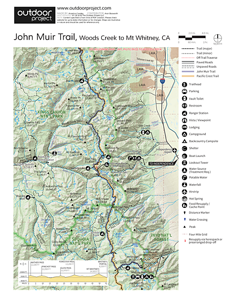 John Muir Trail Section 4 Trail Map