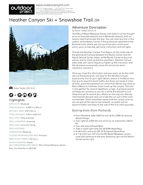 Heather Canyon Ski + Snowshoe Trail Field Guide
