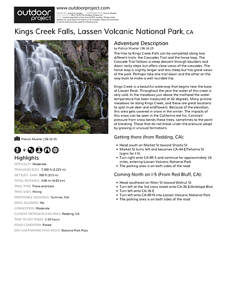 Kings Creek Falls Field Guide