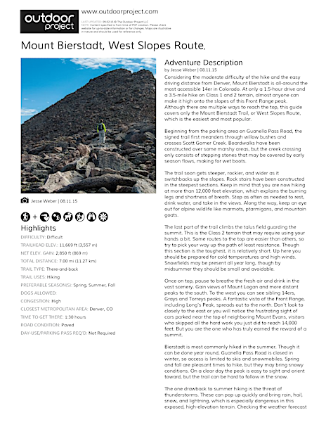 Mount Bierstadt, West Slopes Route Field Guide