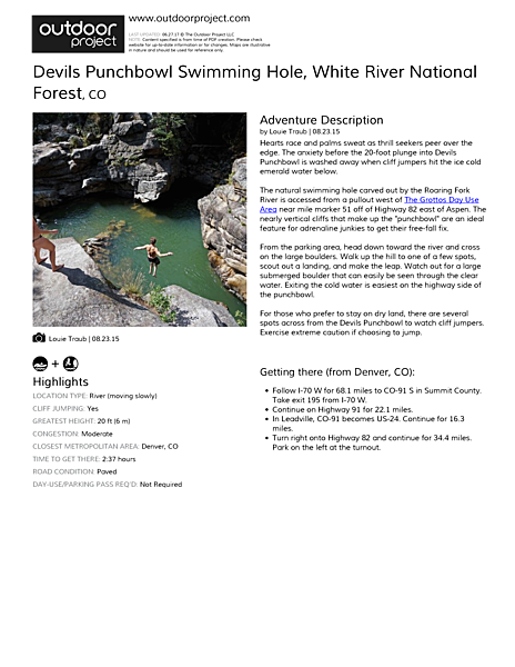 Devils Punchbowl Swimming Hole Field Guide