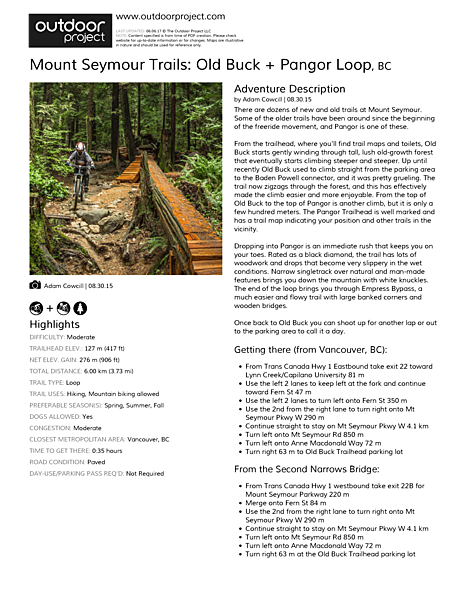 Mount Seymour Trails: Old Buck + Pangor Loop Field Guide