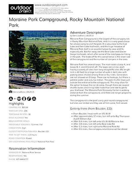 Moraine Park Campground Field Guide
