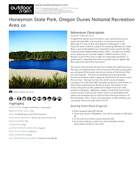 Honeyman State Park | Outdoor Project on