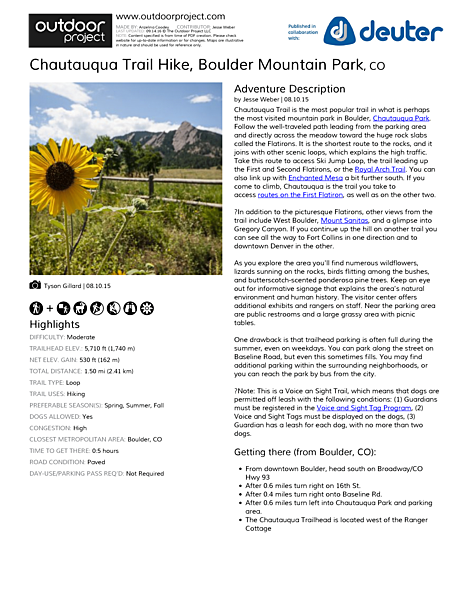Chautauqua Trail Hike Field Guide