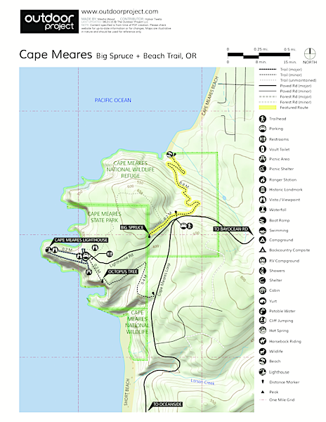 Cape Meares Big Spruce + Beach Trail Trail Map