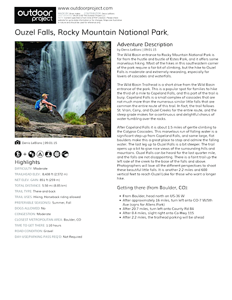 Ouzel Falls Hike Field Guide