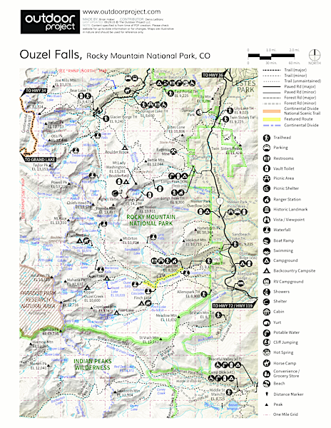 Ouzel Falls Hike Trail Map