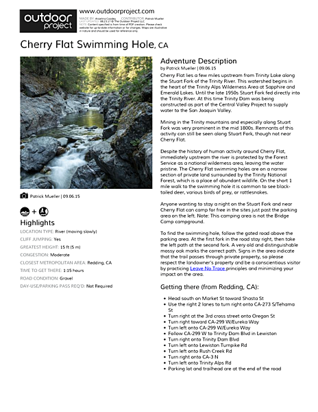 Cherry Flat Swimming Hole Field Guide