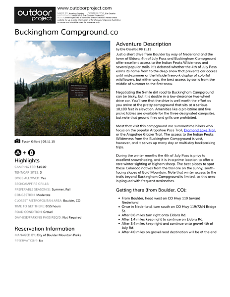 Buckingham Campground Field Guide