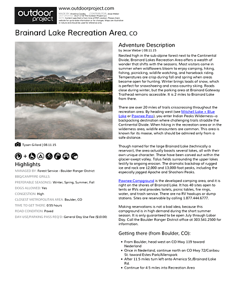 Brainard Lake Recreation Area Field Guide