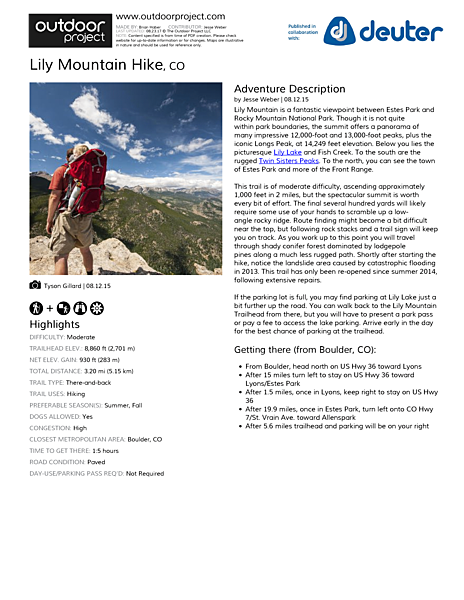 Lily Mountain Hike Field Guide
